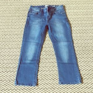 Cropped flared leg jeans